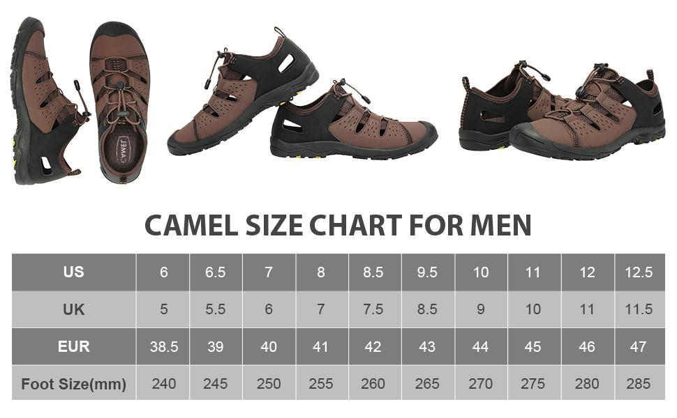 sandal size chart