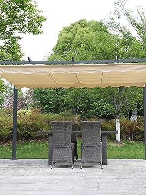 Angel Living® Pérgola de Aluminio con Techo Retráctil, Pabellón con Diseño Elegante, Cenador con Tela de Poliéster Resistente al Agua y a UV, Uso para el Exterior (3X4M): Amazon.es: Jardín