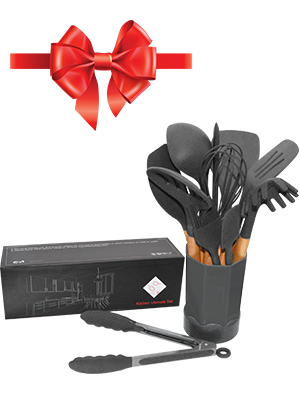 Silicone spatulas, spoons, soup ladle, brush, wooden handle, kitchenware kit with holder & Nice box