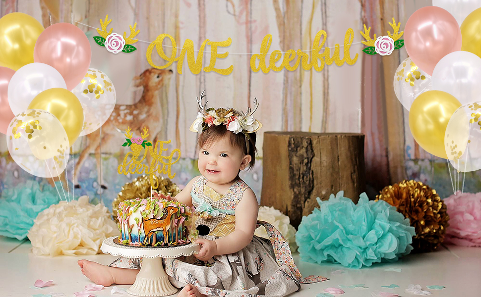 Oh Deer 1st Birthday Cake Topper Woodland 1st Birthday Party Deer One Cake Topper Deer Baby Party