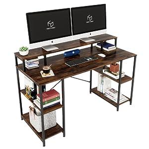 computer desk with monitor raiser shelf