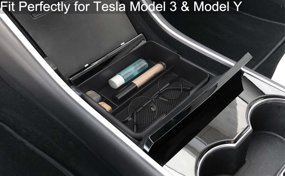 bobotron Sunglass Soporte para 2017 2018 2019 Tesla Modelo 3 Consola Central Organizador Insertar Abs Bandeja De Materiales Negros
