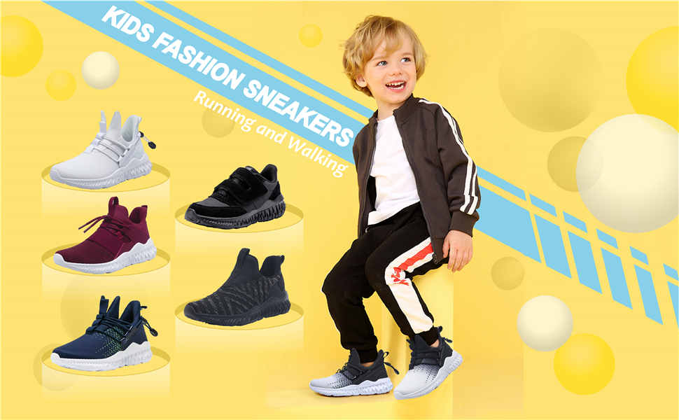 JOINFREE Kids Fashion Sneakers Breathable Lightweight Athletic Velcro Shoes for Boys Girls