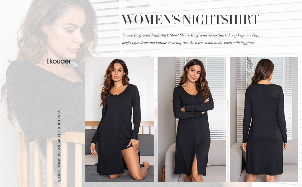 womens nightshirt long sleeve