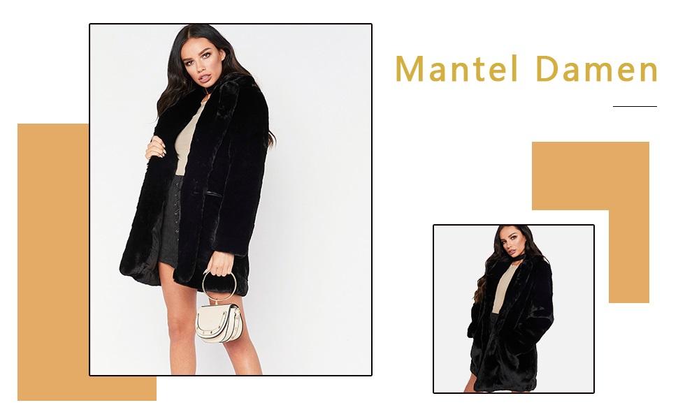 Zonsaoja Damen Kunstpelz Mantel Verdicken Pelzmantel Flaumig Warme Outwear Elegant Winter
