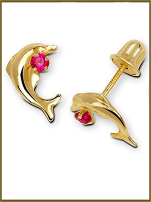 JewelryWeb White Red Solid 14k Yellow Blue Pink or Clear Cubic Zirconia Swimming Dolphin Screw-Back Earrings 6mm x 10mm Pink or Clear Cubic Zirconia Swimming Dolphin Screw-Back Earrings 6mm x 10mm