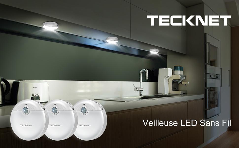 Lumi/ère descalier Nocturne Eclairage de Nuit avec D/étecteur de Mouvement /& D/étecteur de Lumi/ère TeckNet Veilleuse LED Lot de 3 Aliment/é par Batterie