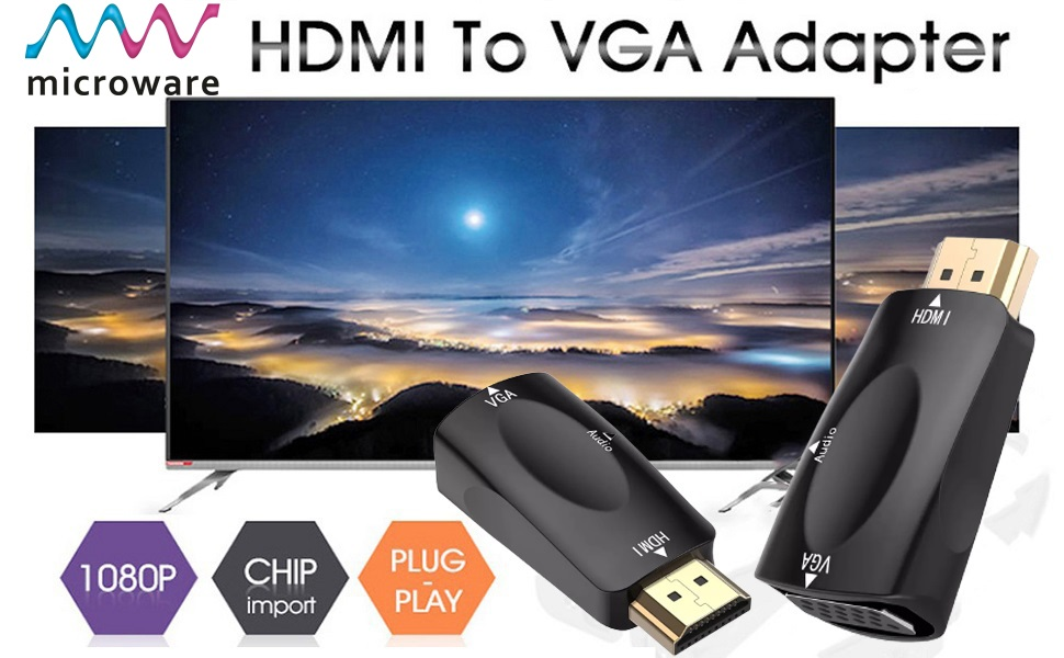 hdmi to vga with audio 3.5mm jack adapter converter