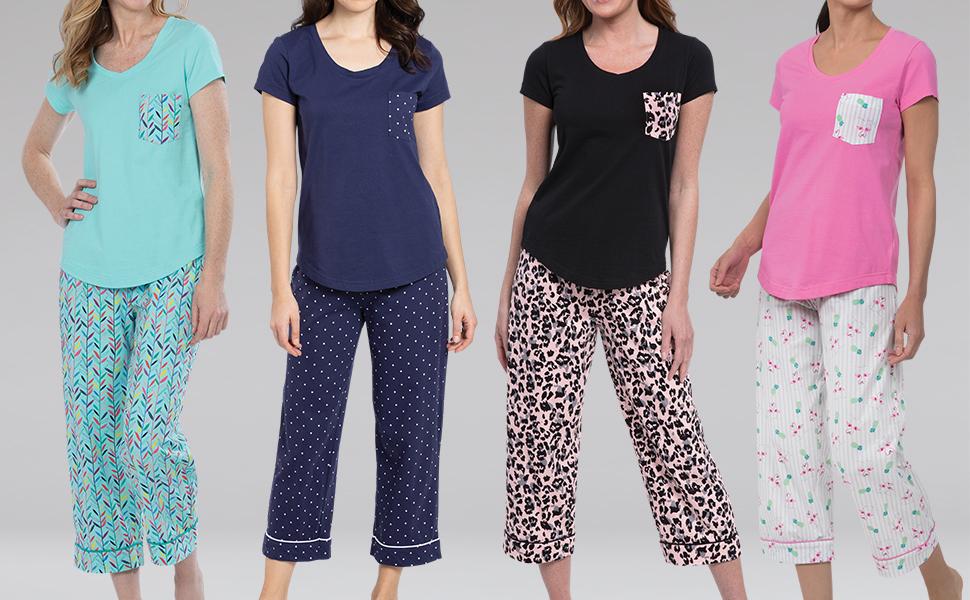 Lineup of women in printed short sleeve capri pajamas