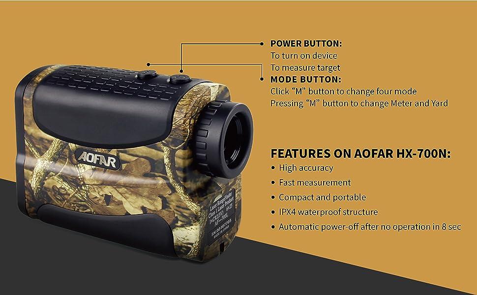 AOFAR HX-700N Hunting Range Finder 700 Yards Waterproof