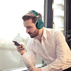 cuffie senza fili pieghevoli dell'orecchio paraorecchie girevoli bluetooth 5.0 compatibile iphone xr
