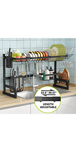 Dish Drying Rack, 1Easylife Expandable Over The Sink Dish Drainer Dish Rack in Sink or On Counter