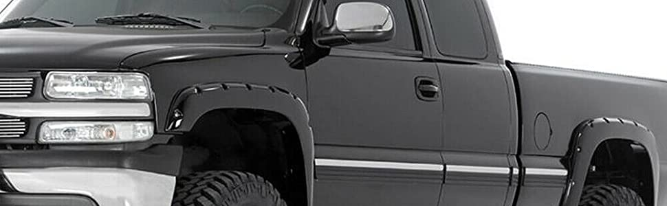 Smooth Black Pocket Bolt-Riveted Style Fender Flares Kit For Chevy Silverado GMC Sierra 1500//2500//3500HD 1999-2007 Bolt On Wheel Cover Protector Vent Trim 4 Piece 2000 2001 2002 2003 2004 2005 2006