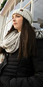 matching oversized beanie and scarf bundle