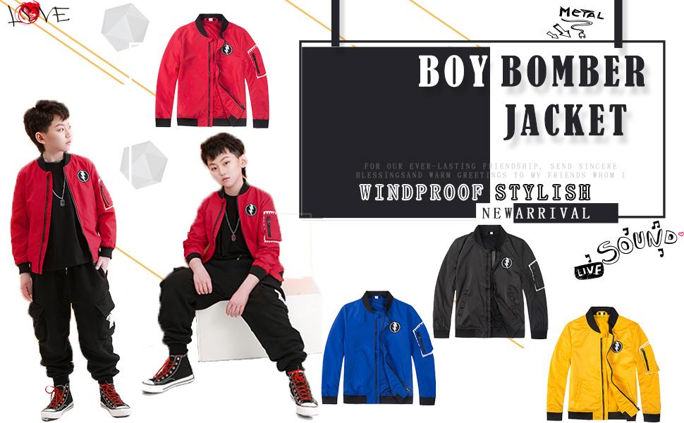 Boys Bomber Jacket Fall Varsity Flight Jacket Saviator Coat Lightweight Waterproof