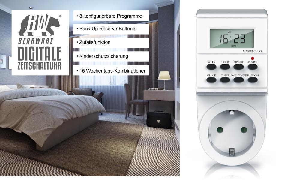 Bearware 3600W Zufalls-Funktion 8 konfigurierbare Schaltprogramme digitale Zeitschaltuhr Sommerzeit-Funktion 1,4 LCD-Display 16 verschiedene Wochentags-Kombinationen