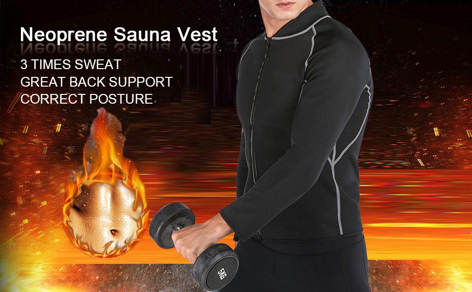 Men Sweat Neoprene Weight Loss Sauna Suit Workout Shirt Body Shaper Fitness Shapewear Long Sleeve