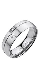 Cubic Zirconia Matte Finish Engagement Ring