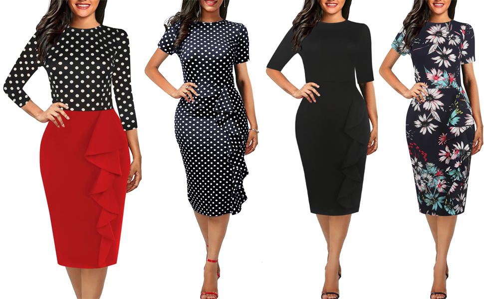 women's scope neck work pencil dress