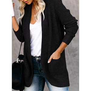 VIMPUNEC Womens Cable Knit Chunky Cardigans Boyfriend Long Sleeve Tops Open Front Sweaters