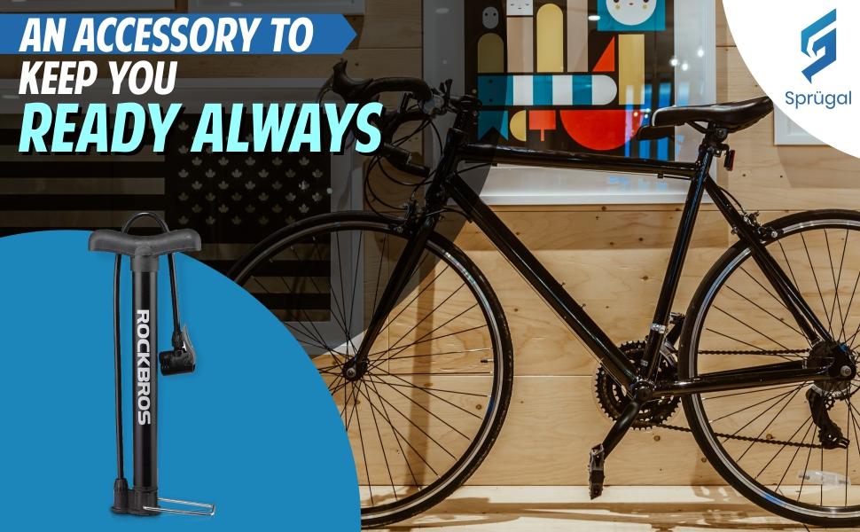 Sprugal Bicycle Floor Pump l 120 PSI, Reversible Presta & Schrader Valve with Thumb-Lock Lever Black