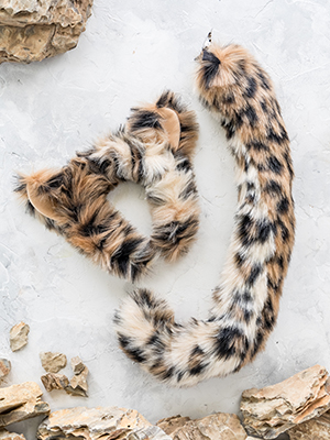 """Clip On Tail Faux Fur Cheetah Tail 28/"""" Long Animal Tail Fancy Dress Costume Tail"""