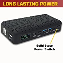 Solid State, Multiple Ports, low discharge, glove box, trunk, storage, jumper pack, solar, LED