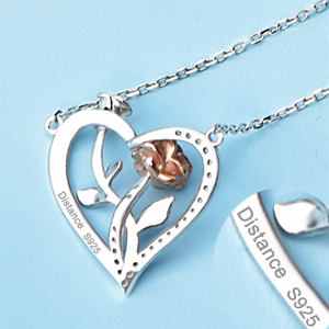 rose flower necklace sterling silver heart necklace