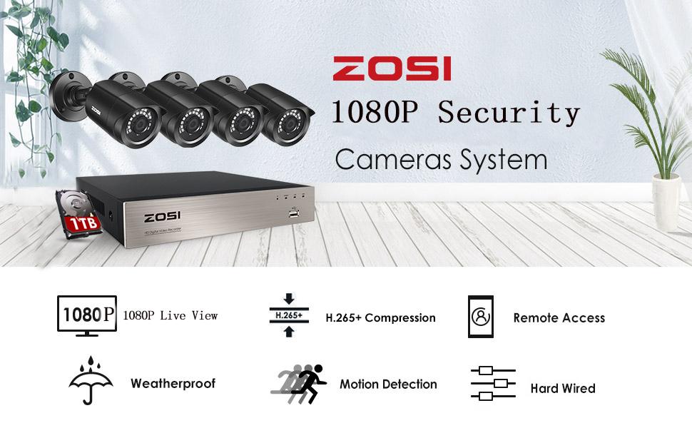 zosi 8ch 1080p H.265+ surveillence CCTV camera system