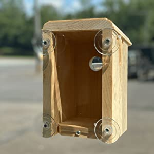 window mounted bird house using strong suction cups that stick to the window and will last long time
