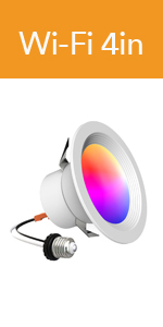 810lm No Hub Required BLE Mesh 4inch 65W Equivalent iLintek Smart Recessed Lighting 4 Inch Smart LED Downlight Bluetooth Ceiling Light Tunable White+RGB Timing Function Music Sync BLE Mesh 9W