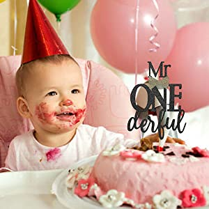 Amazon.com: Mr Onederful Cake Topper For Birthday - Black Glitter ...