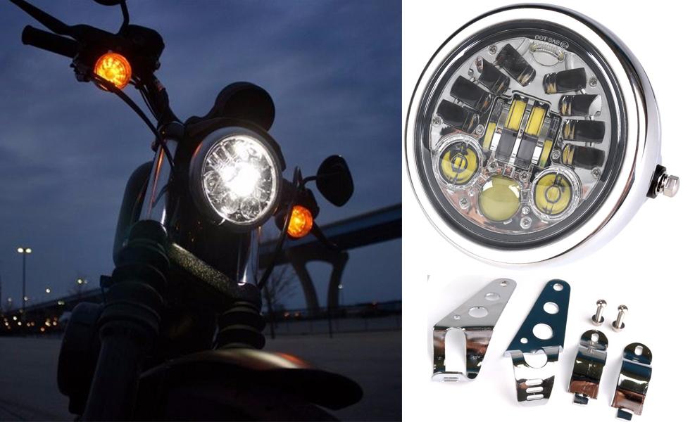 "Motorcycle 12v 5/"" LED Head Light High Low Beam Headlight For Harley Honda Yamaha"