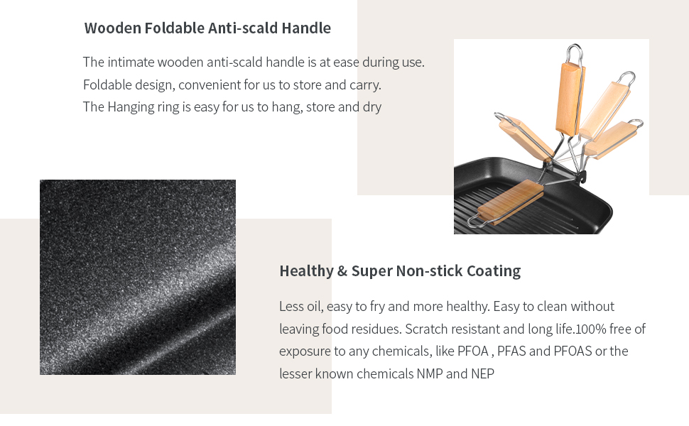 foldable handle and non-stick coating