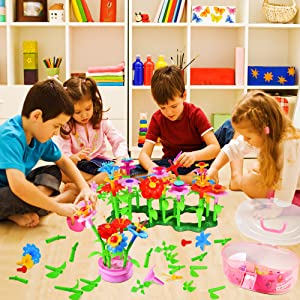 flower garden building toys activity 3-year-old girl toys activity stem motor toddler gardening