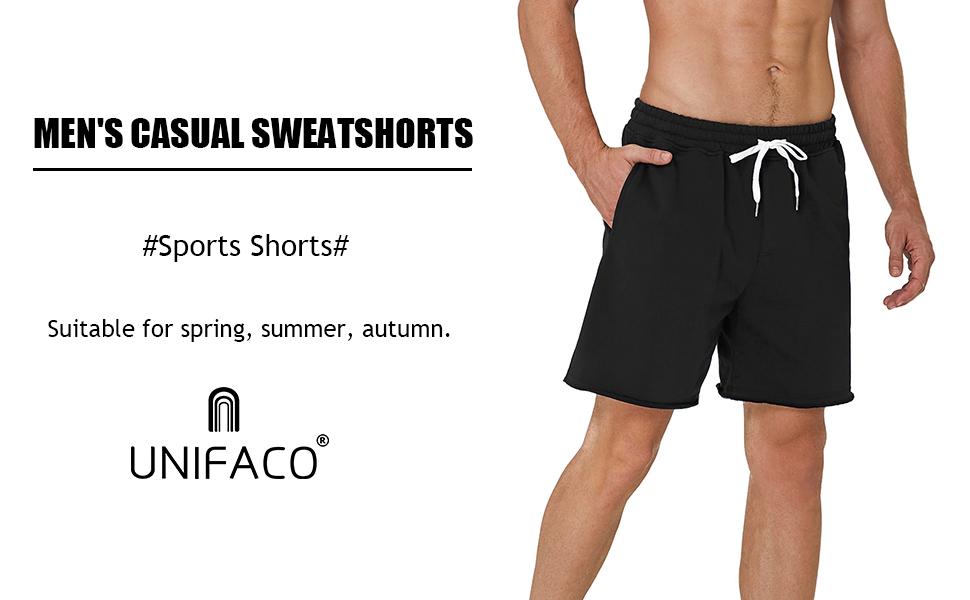 UNIFACO Herren Sweatshorts Baumwoll Kurze Hose Jogginghose Sportshorts Sweatpants Traininghose Mit Kordel