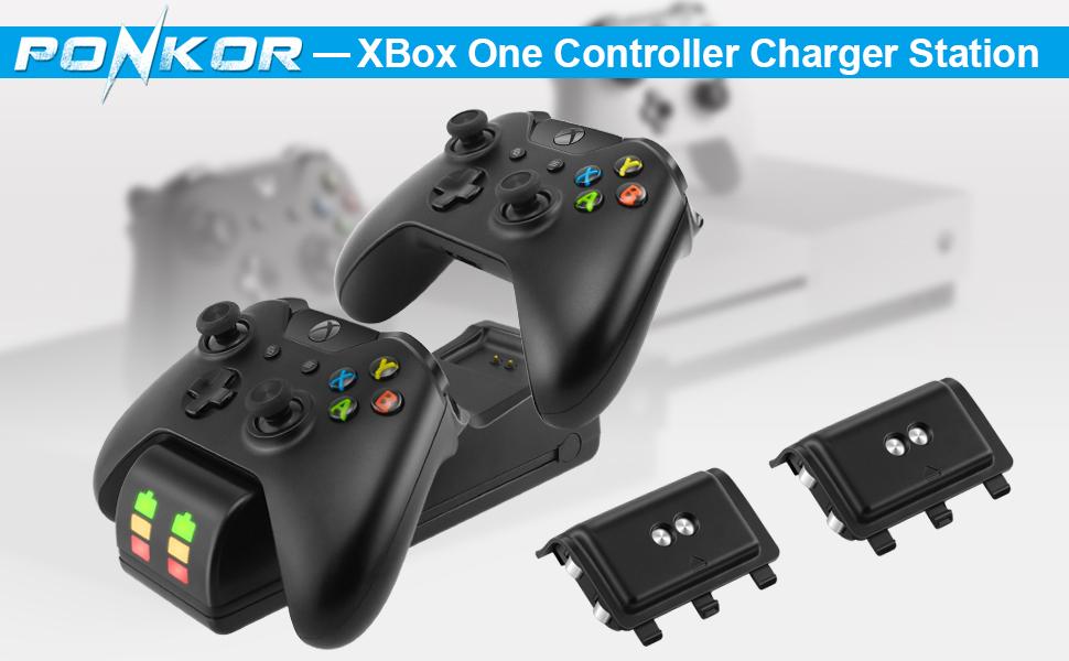 Ponkor Estación de Carga del Controlador Xbox One, Cargador Mando Xbox con 2 Baterías Recargables NI-MH 2200mAh para Xbox One / Xbox One S / Xbox One X / Xbox Elite,Negro: Amazon.es: