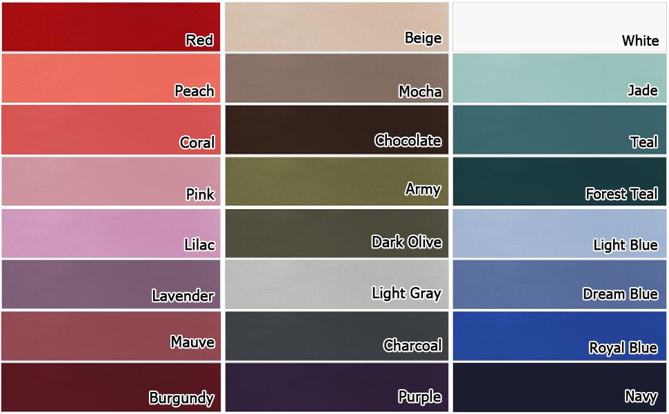 ODODOS Essential Leggings Color Chart