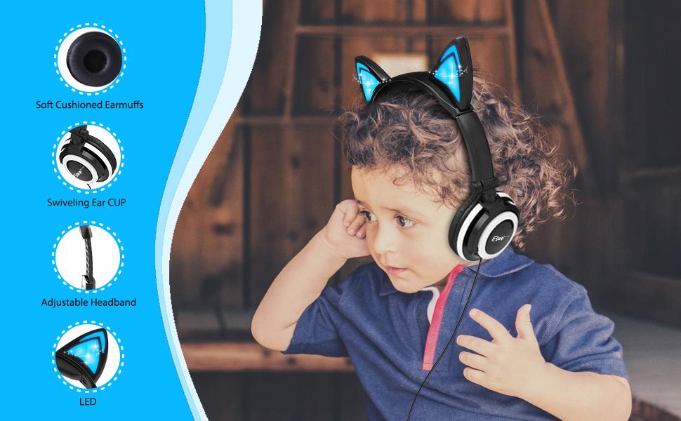 cat ear kids headphones