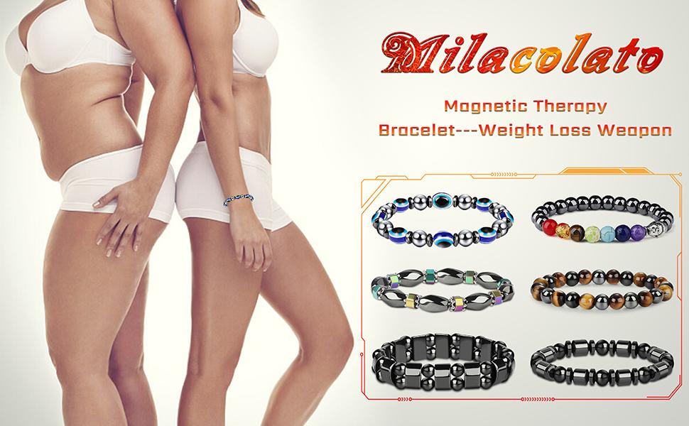 Milacolato 8Pcs Hematite Bracelet for Men Women Magnetic Therapy Bracelet Healthcare Weight Loss Pain Relief Bracelets Strand Bracelets Sets