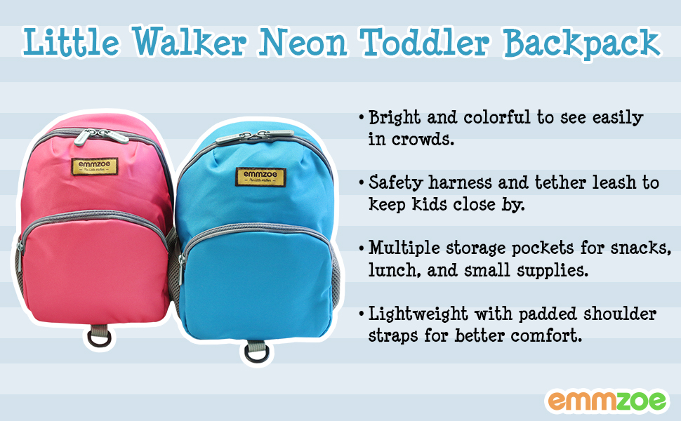 emmzoe little walker neon toddler backpack bright colors with safety harness and detachable leash