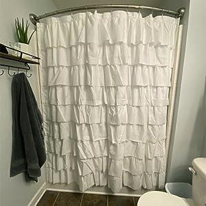 Modern farmhouse ruffle bathrooom curtain