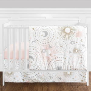 Blush Pink, Gold, Grey and White Star and Moon Celestial Baby Girl Crib Bedding Set without Bumper