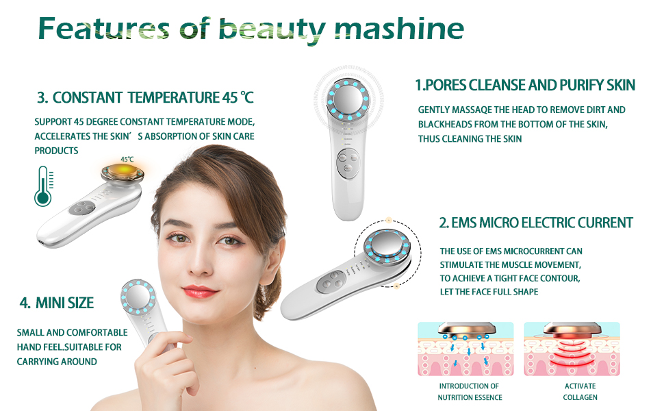 Facial Massager - 7 in 1 Face Cleaner Lifting Machine - High Frequency Machine - Promote Face Cream Absorption - LED Blue & Red Light Wave - Lift & Firm Tighten Skin Wrinkles - Skin Care Tools 13