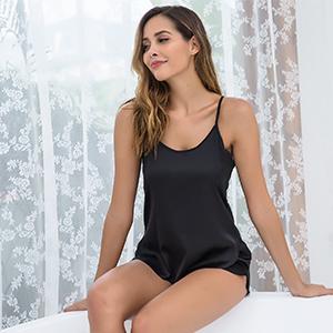 Ekouaer Women's Satin Pajama Cami Set Silky Nightwear 2 Piece Lingerie Short Sleepwear