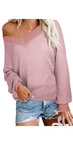 iGENJUN Womens Off Shoulder Batwing Sleeve Loose Pullover Sweater Tops