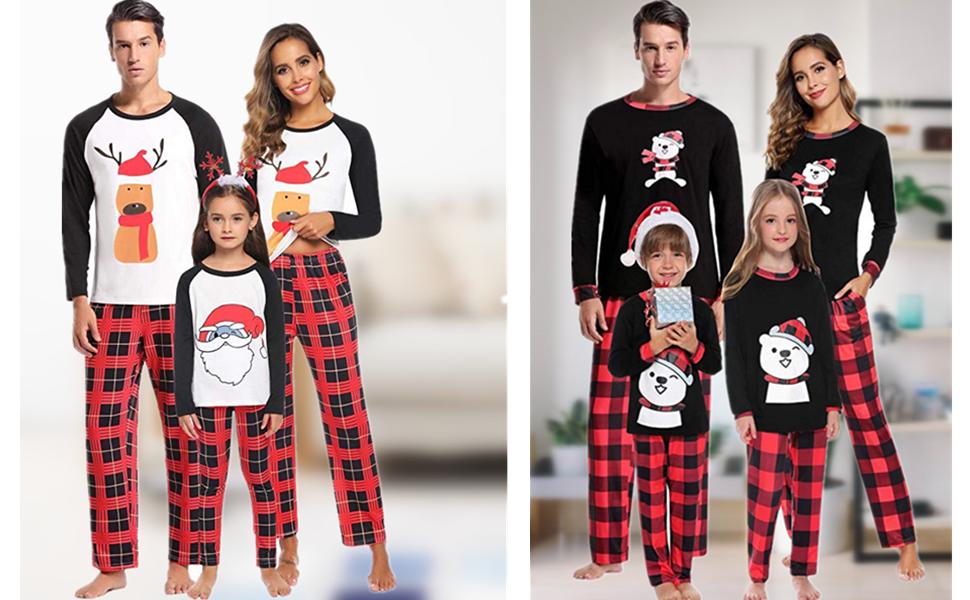 Pijamas de Navidad Familia Conjunto Algodón