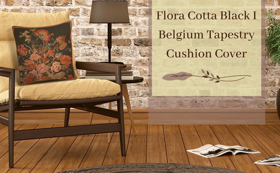 Flora Cotta Black Belgium Tapestry Cushion Cover
