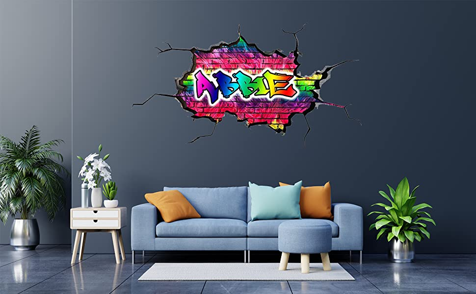 3D CUSTOM GRAFFITI PERSONALISED CRACKED WALL ART STICKER TRANSFER DECAL WSDPGN26