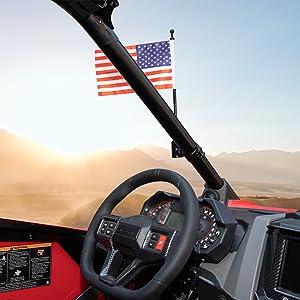 kemimoto UTV Heavy Duty Flag Pole Holder, 360° Adjustable Flagpole Bracket Mount